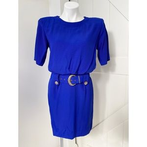 Dawn Joy Fashions Blue 1980s Vintage Dress